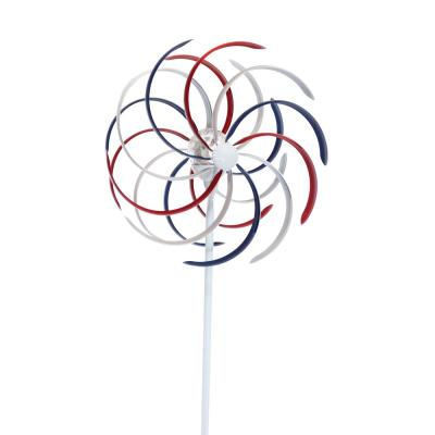 Solar Patriotic Dual Kinetic Windmill Garden Stake