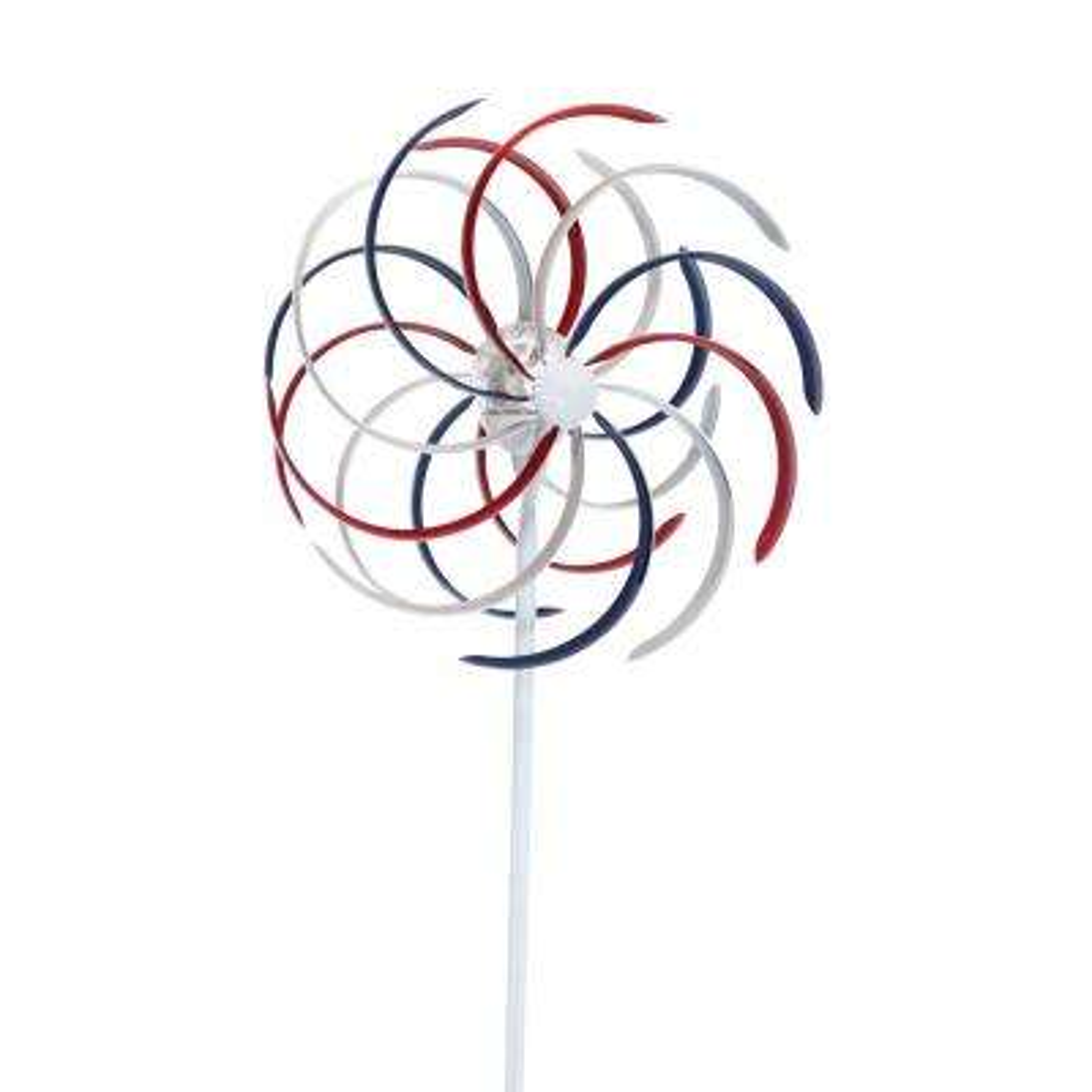 Solar Patriotic Dual Kinetic Windmill Garden Stake