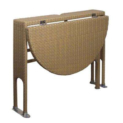 Adena Coffee 36 in. Half-Round Gate-Leg Patio Terrace Mates Table