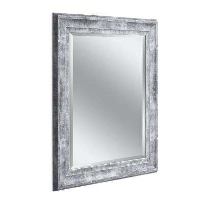 Farmhouse 29 in. x 35 in. Wall Mirror in Gray