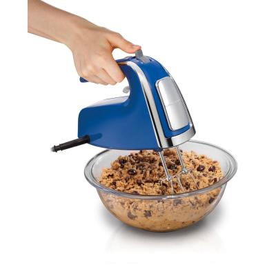 6-Speed Blue Hand Mixer with Beater, Whisk and Dough Hook Attachments