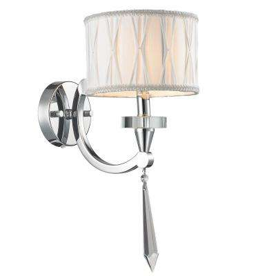 Cutlass 1-Light Polished Chrome Wall Sconce with Clear Crystal