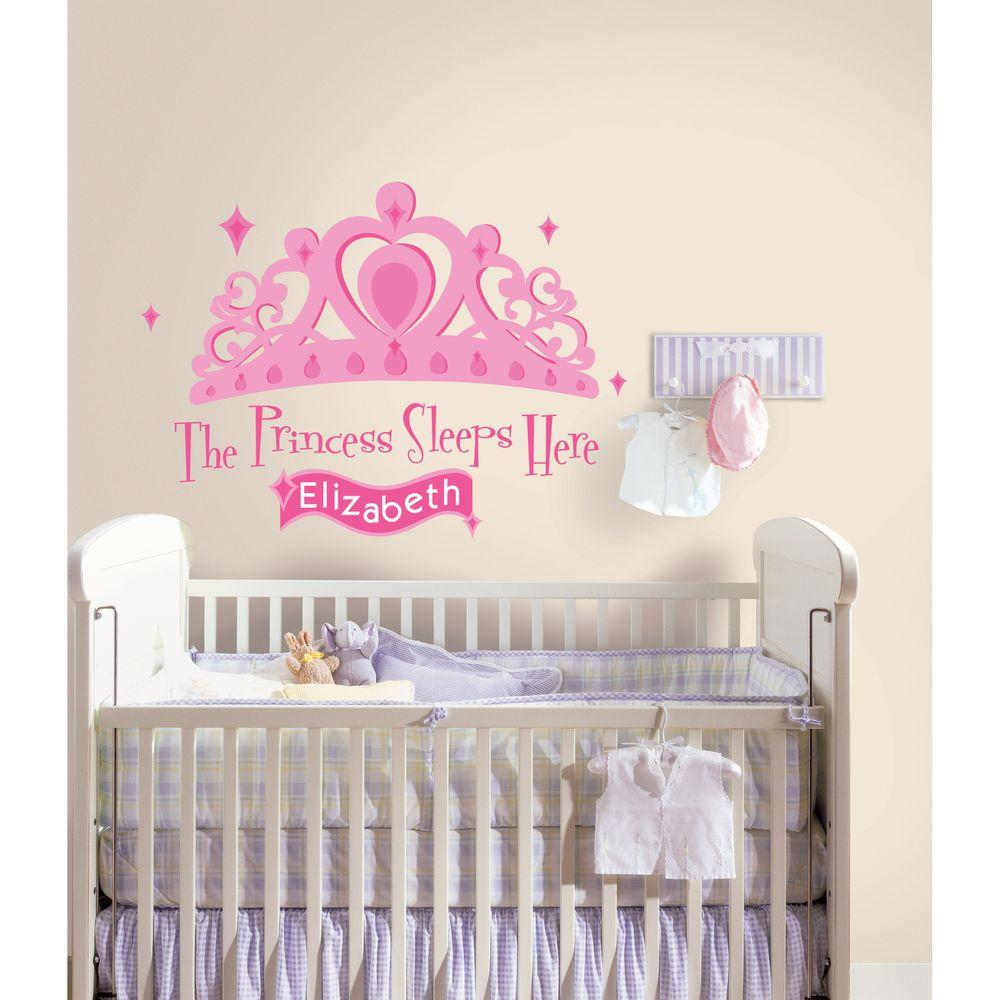 Princess Sleeps Here Peel And Stick Giant Wall Decal With  Personalization RMK1787GM   The Home Depot