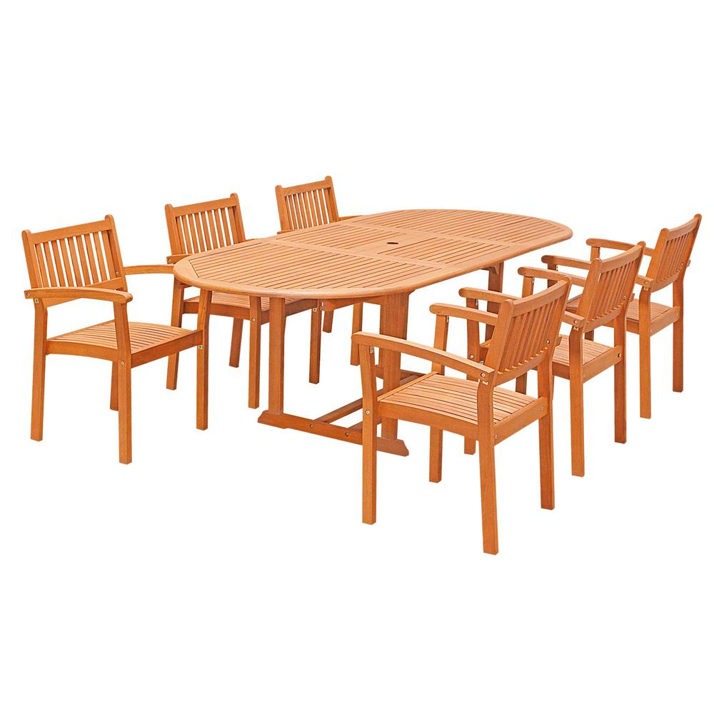 Vifah Eco Friendly 7 Piece Wood Outdoor Dining Set With Oval Extension Table  And