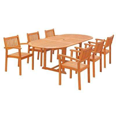 Eco-Friendly 7-Piece Wood Outdoor Dining Set with Oval Extension Table and Stacking Chairs