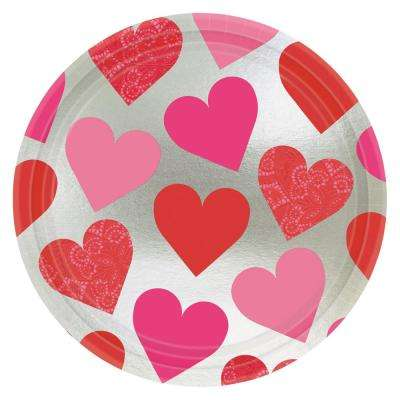 Key To Your Heart 9 in. x 9 in. Metallic Paper Valentine's Day Plate (8-Count 5-Pack)