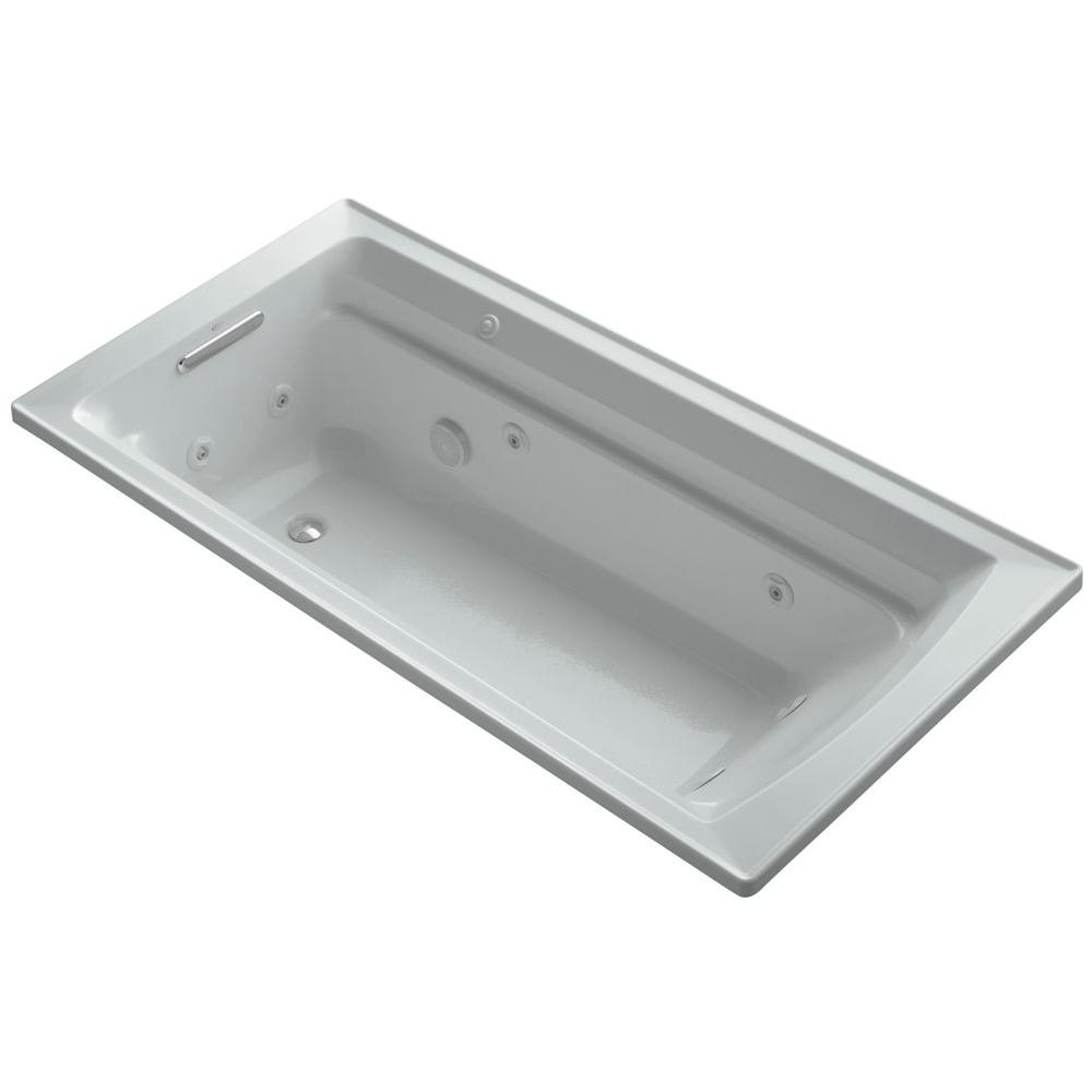 KOHLER Archer 6 ft. Acrylic Rectangular Drop-in Whirlpool Bathtub in Ice Grey