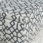 Noble House Cleo Gray Geometric-Patterned Fabric Storage Bench