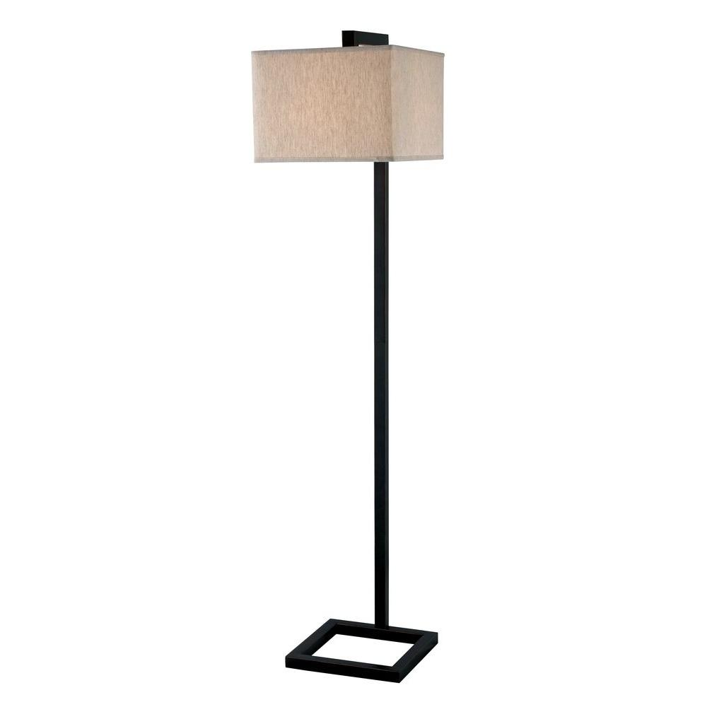 Kenroy home 4 square 1 light 64 in oil rubbed bronze floor for Off set floor lamp