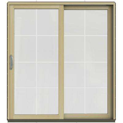 71.25 in. x 79.5 in. W-2500 Dark Chocolate Prehung Right-Hand Clad-Wood Sliding Patio Door with 8-Lite Grids
