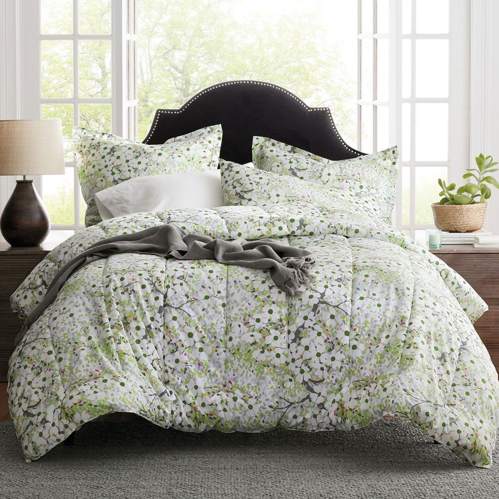 The Company Store Dogwood Multi Cotton Percale King Comforter 50368E-K-MULTI