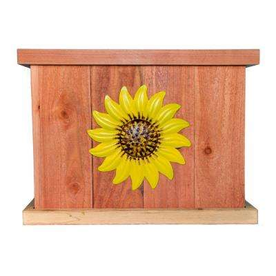 22 in. x 22 in. Deluxe Redwood Planter with Yellow Sunflower Art