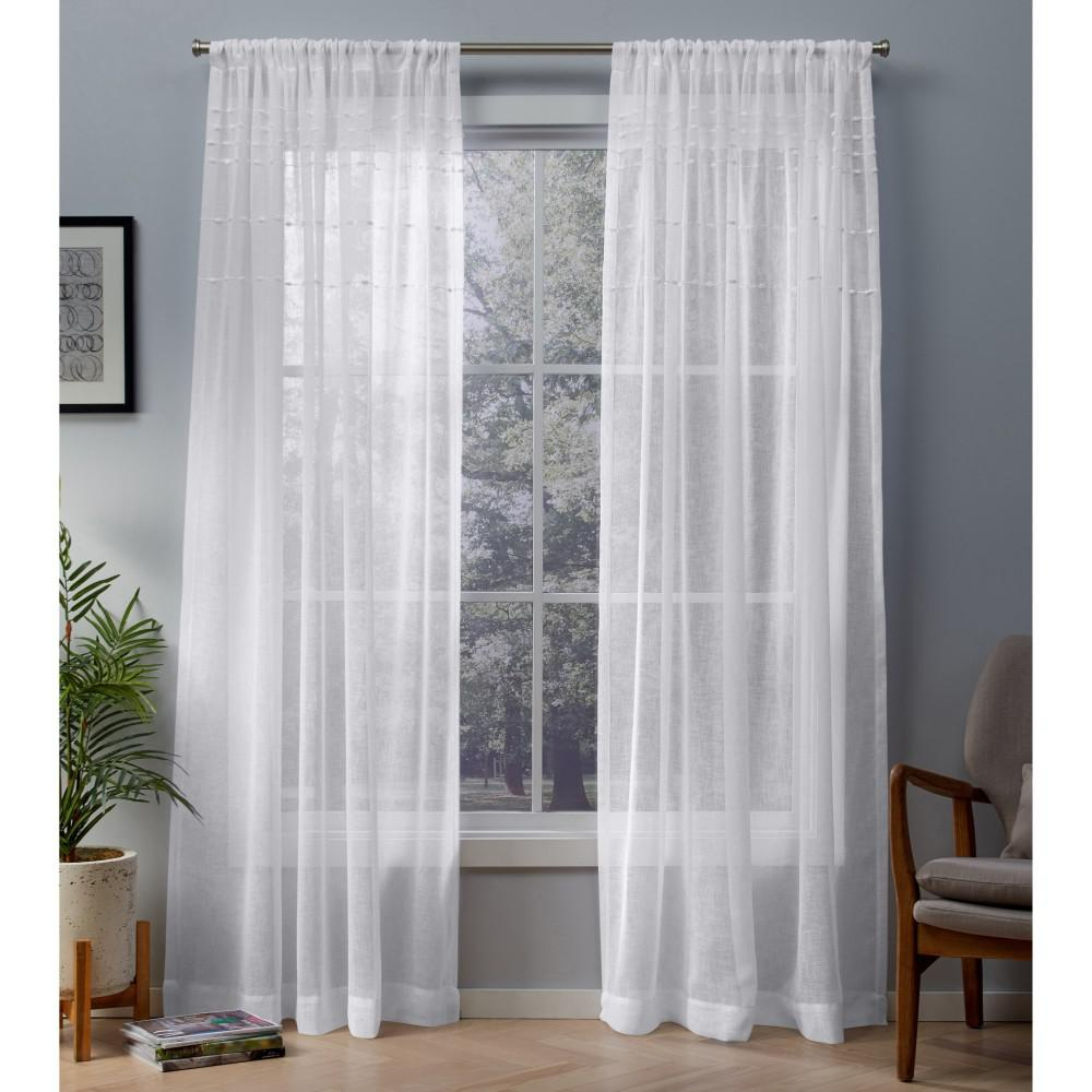 Davos Winter White Puff Embellished Belgian Linen Sheer Rod Pocket Top Window Curtain