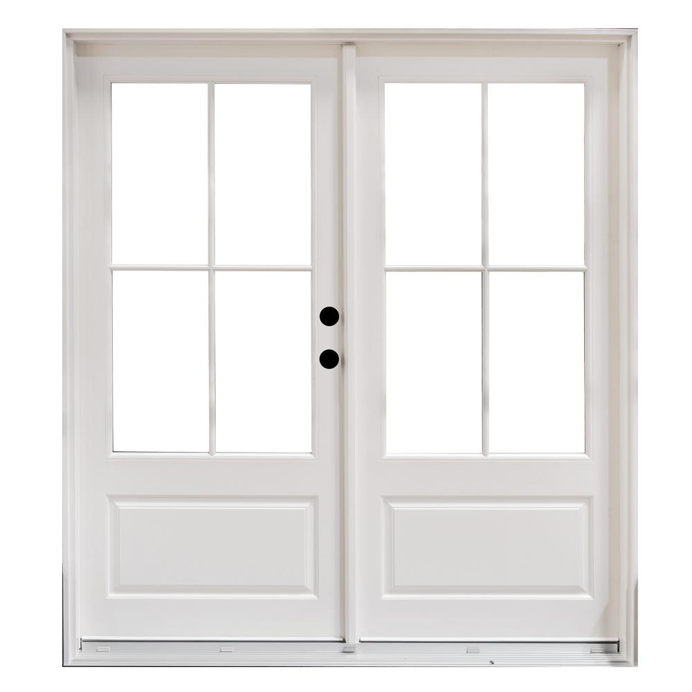 Steves sons 72 in x 80 in primed white fiberglass for Fiberglass french patio doors