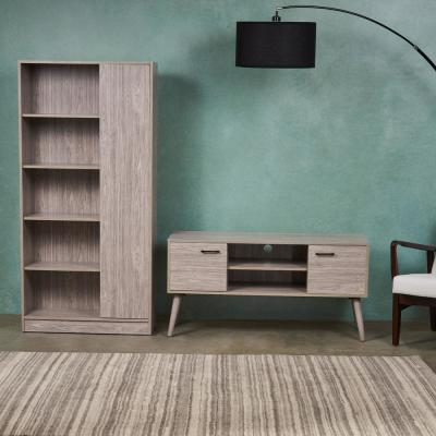 48 in. Grey Oak MDF Entertainment Center Fits TVs Up to 47 in. with Media Cabinet