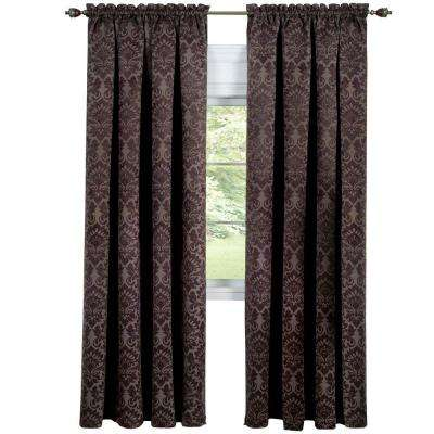 Blackout Sutton Brown Polyester Blackout Curtain Panel 52 in. W x 84 in. L