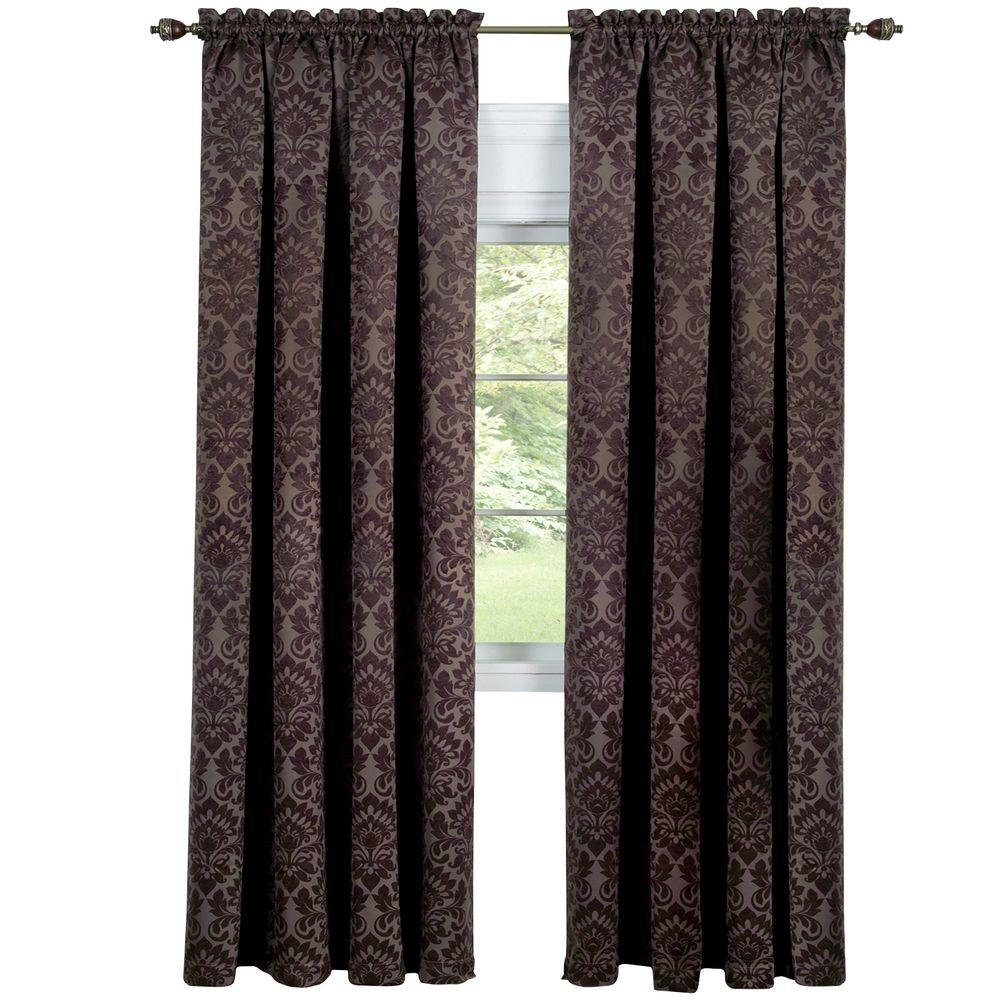 Blackout Sutton Brown Polyester Blackout Curtain Panel 52 in. W x