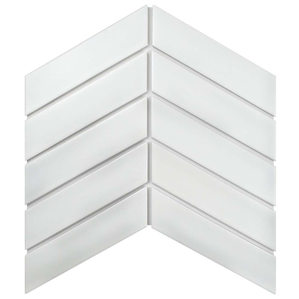 Metro Soho Chevron Matte White 1-3/4 in. x 7 in. Porcelain Floor and Wall Tile (1 sq. ft. / pack)