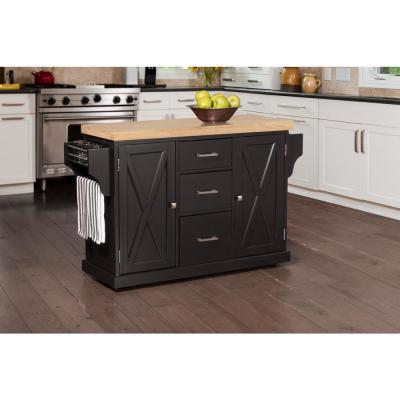 Brigham Black Kitchen Island with Natural Wood Top