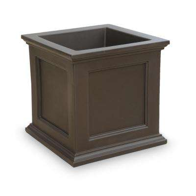 Fairfield 28 in. Espresso Plastic Square Planter
