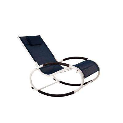 Wave White and Navy Aluminum Outdoor Rocking Chair