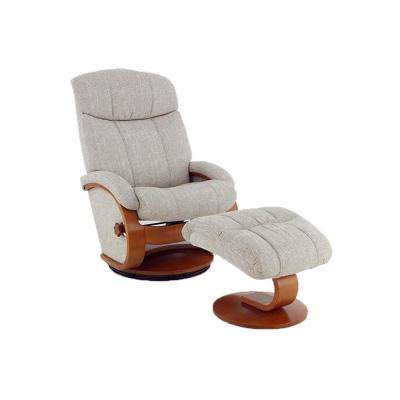 Oslo Collection Alta Teatro Linen Fabric Recliner with Ottoman
