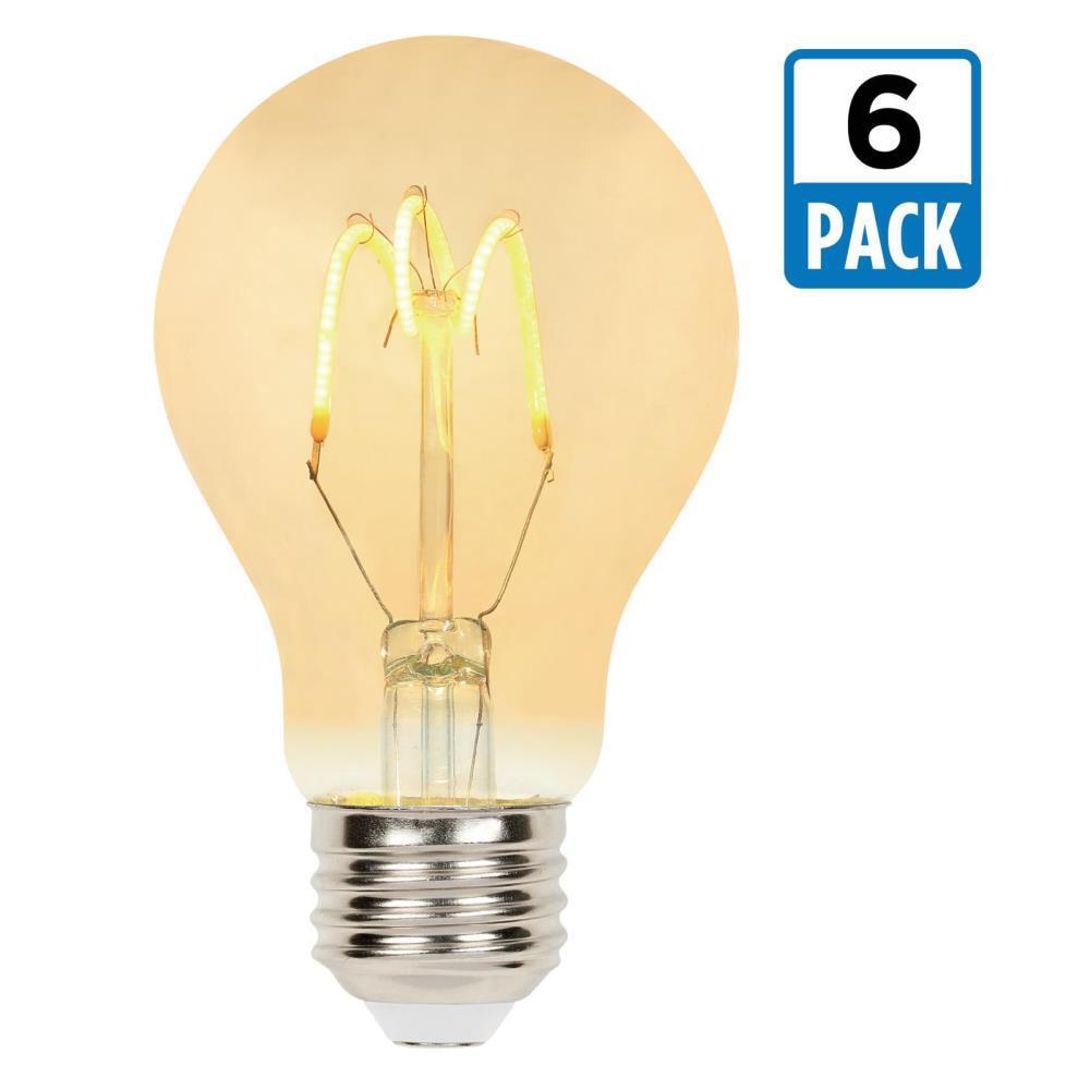 25-Watt Equivalent A19 Dimmable 2000K Flexible Filament LED Light Bulb (6-Pack)