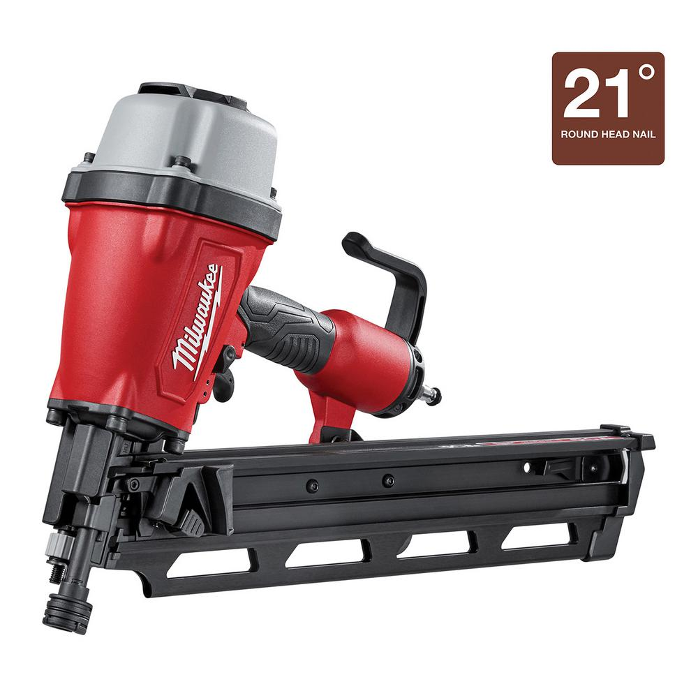 Milwaukee Pneumatic 3-1/2 in. 21 Degree Full Round Head Framing ...