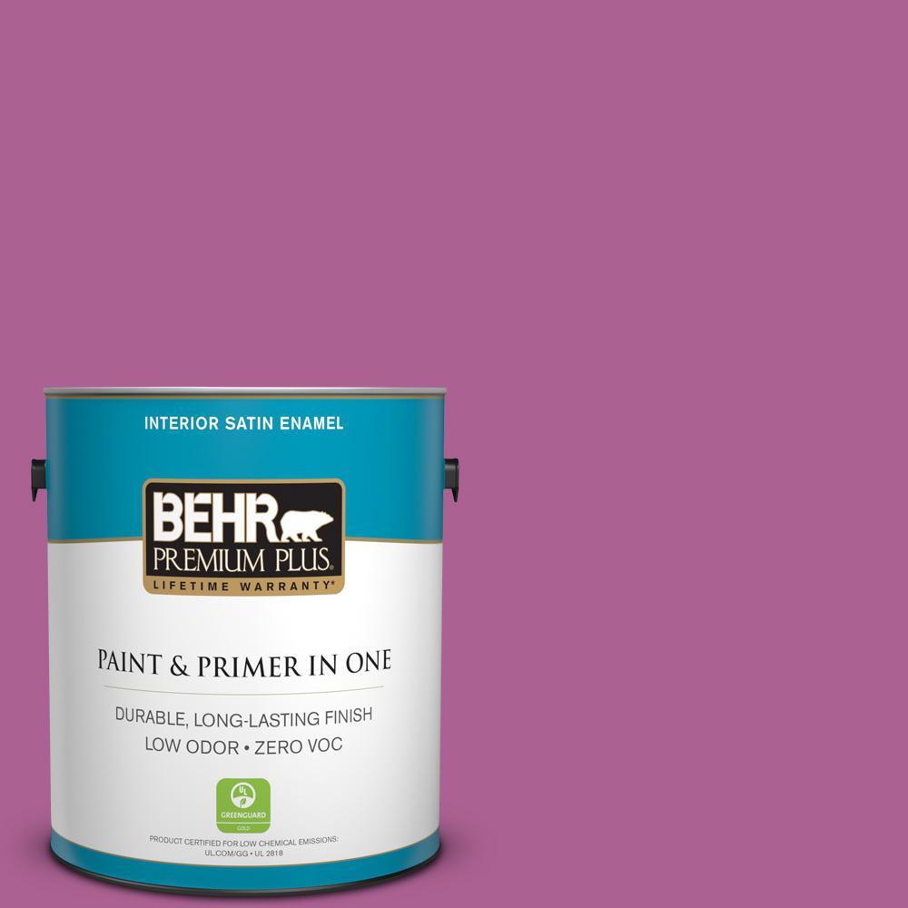 BEHR Premium Plus 1-gal. #680B-6 Exotic Bloom Zero VOC Satin Enamel Interior Paint