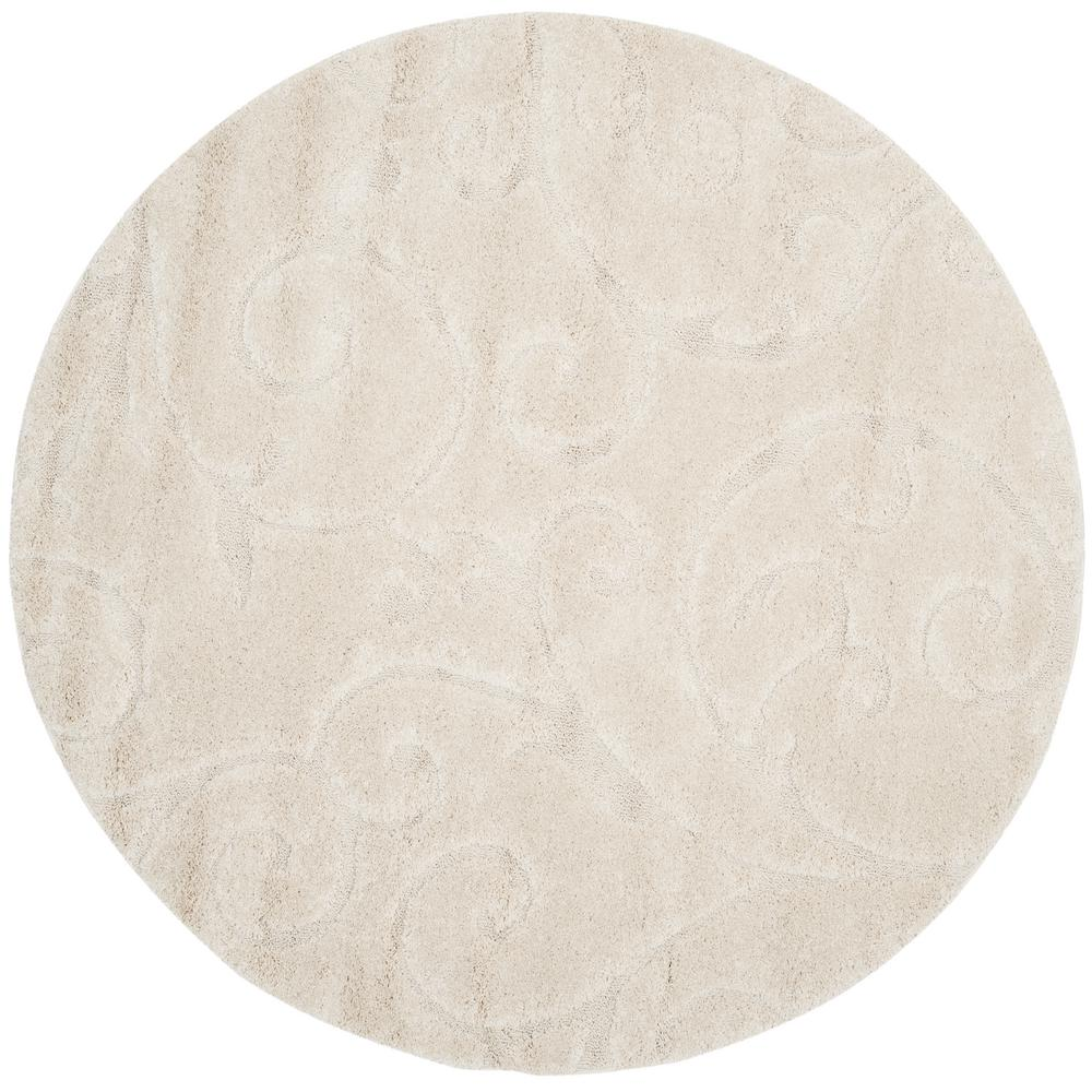 safavieh florida shag cream 4 ft x 4 ft round area rug sg455 1111 4r the home depot. Black Bedroom Furniture Sets. Home Design Ideas