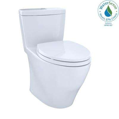 Aquia 1-Piece Elongated 0.9/1.6 GPF Dual Flush Skirted Toilet in Cotton White