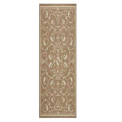Tendril Taupe/Champagne 2 ft. x 8 ft. Indoor/Outdoor Runner Rug