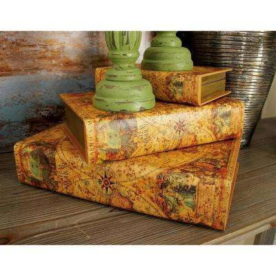 """Vintage Rectangular Wood and Faux Leather """"Atlas Maior"""" Book Boxes (Set of 3)"""