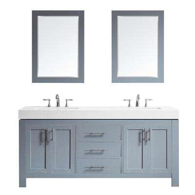Essex 72 in. W x 22 in. D Bath Vanity in Grey with Quartz Vanity Top in White with White Basins and Mirrors