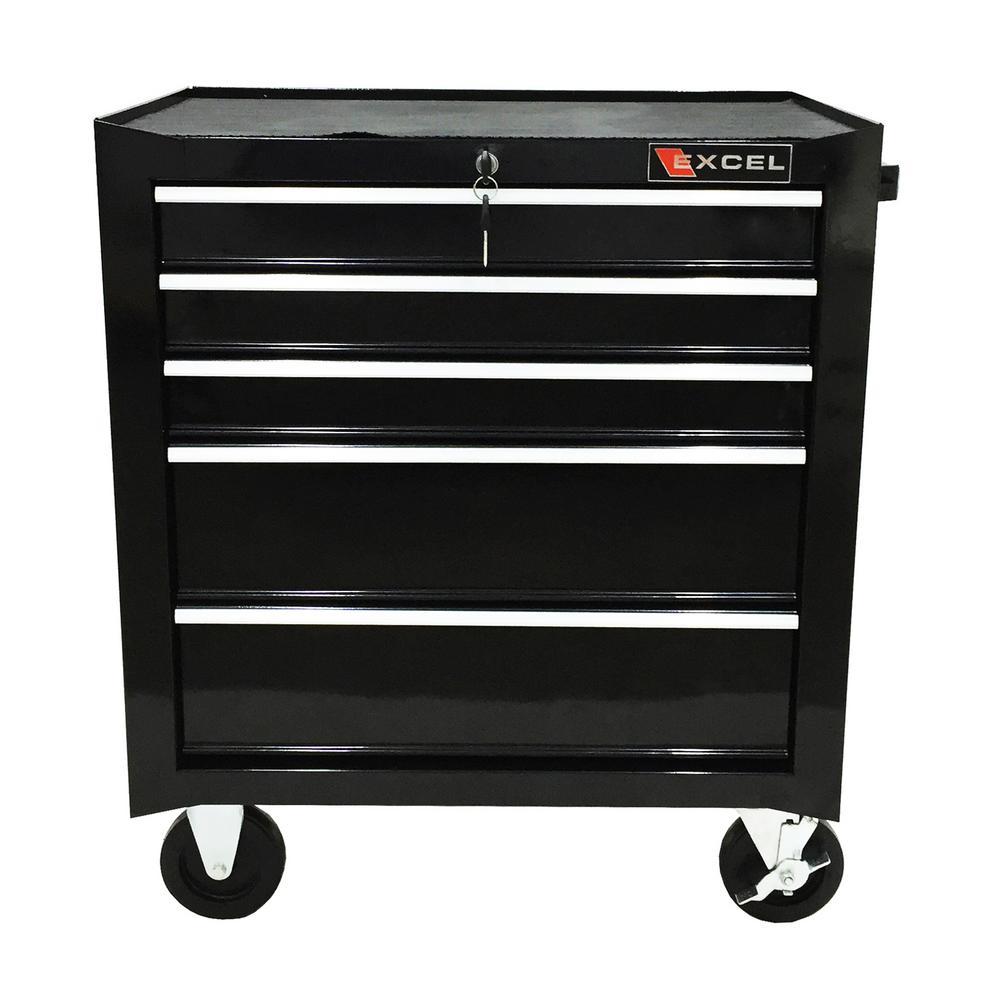 Excel Steel Roller Cabinet,Black 26.8 in. W x 17.1in.D x 31.3in. H ...