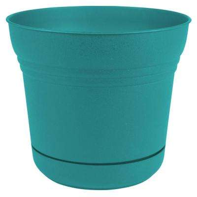 Saturn 14 in. x 12.75 in. Bermuda Teal Plastic Planter with Saucer