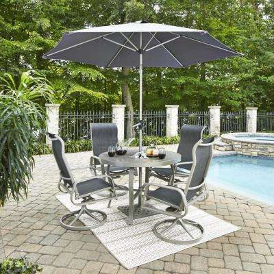 Homestyles Captiva Charcoal Gray 5 Piece Cast Aluminum Round Outdoor Dining Set With Umbrella 6700 30556 The Home Depot