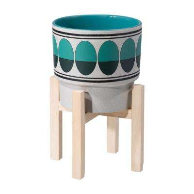 6.9 in. W x 6.9 in. D x 6.7 in. H Green and Teal Ceramic Retro Planter