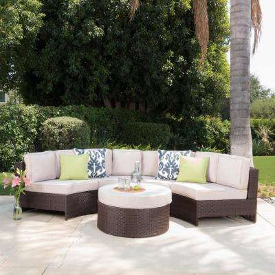 Brown 5-Piece Wicker Outdoor Sectional and Ottoman Set with Textured Beige Cushions