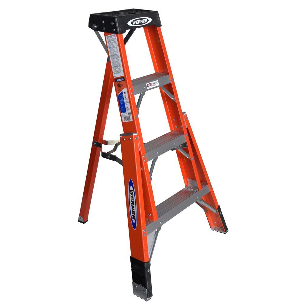 Werner 4 Ft Fiberglass Tripod Step Ladder With 300 Lb Load Capacity Type Ia Duty Rating Ftp6204 The Home Depot