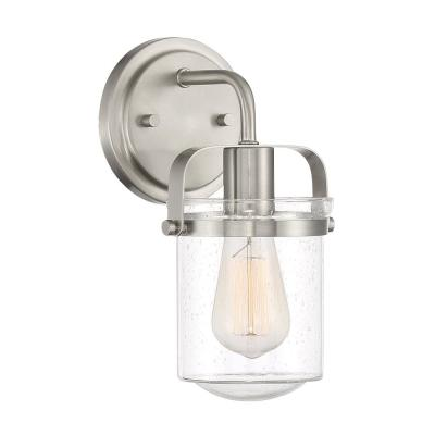 Jaxon 1-Light Brushed Nickel Wall Sconce with Clear Seedy Glass Shade