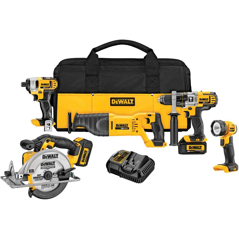 20-Volt MAX Lithium-Ion Cordless Combo Kit (5-Tool) with (2) Batteries 3.0Ah,