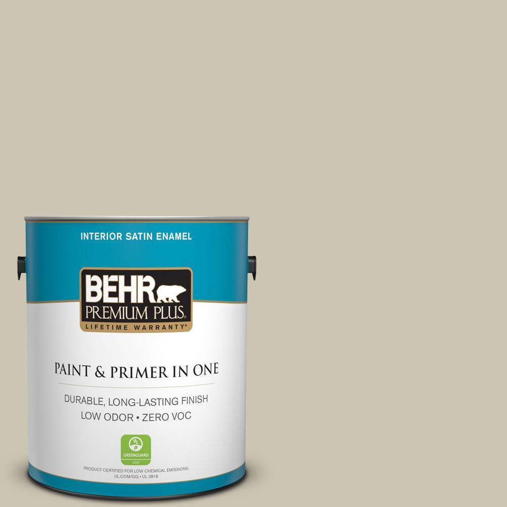 BEHR Premium Plus 1-gal. #ECC-14-1 Scenic Path Zero VOC Satin Enamel Interior Paint