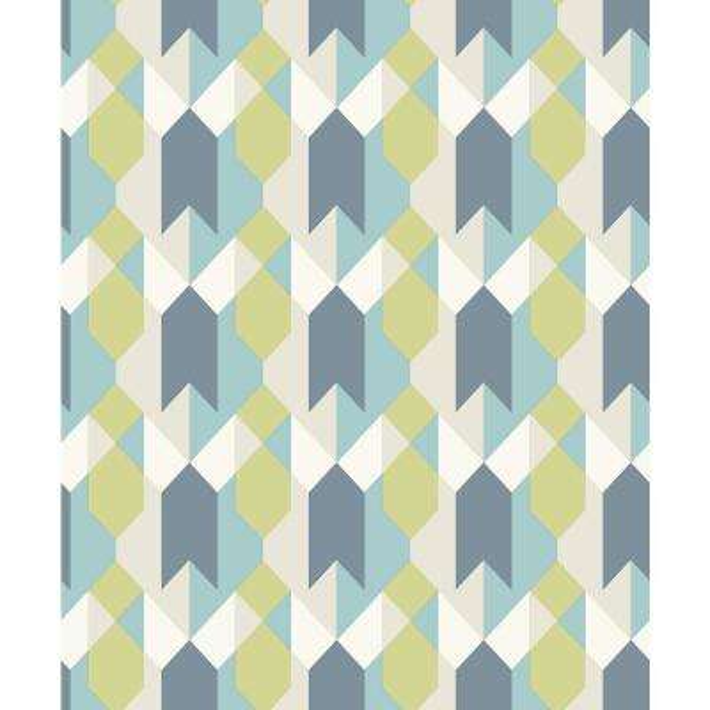 56.4 sq. ft. Copenhagen Blue Geometric Wallpaper