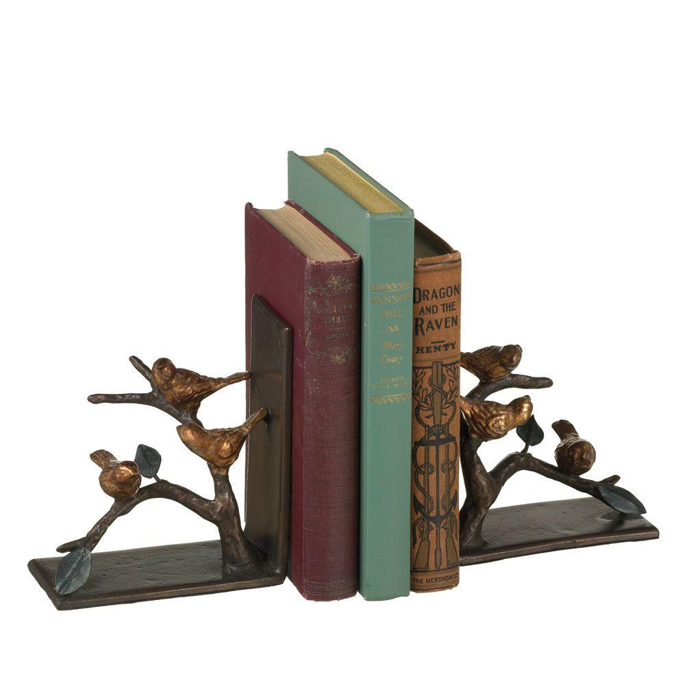 Filament Design Sundry 5 in. Bronze Cast Iron Bird and Twig Bookends