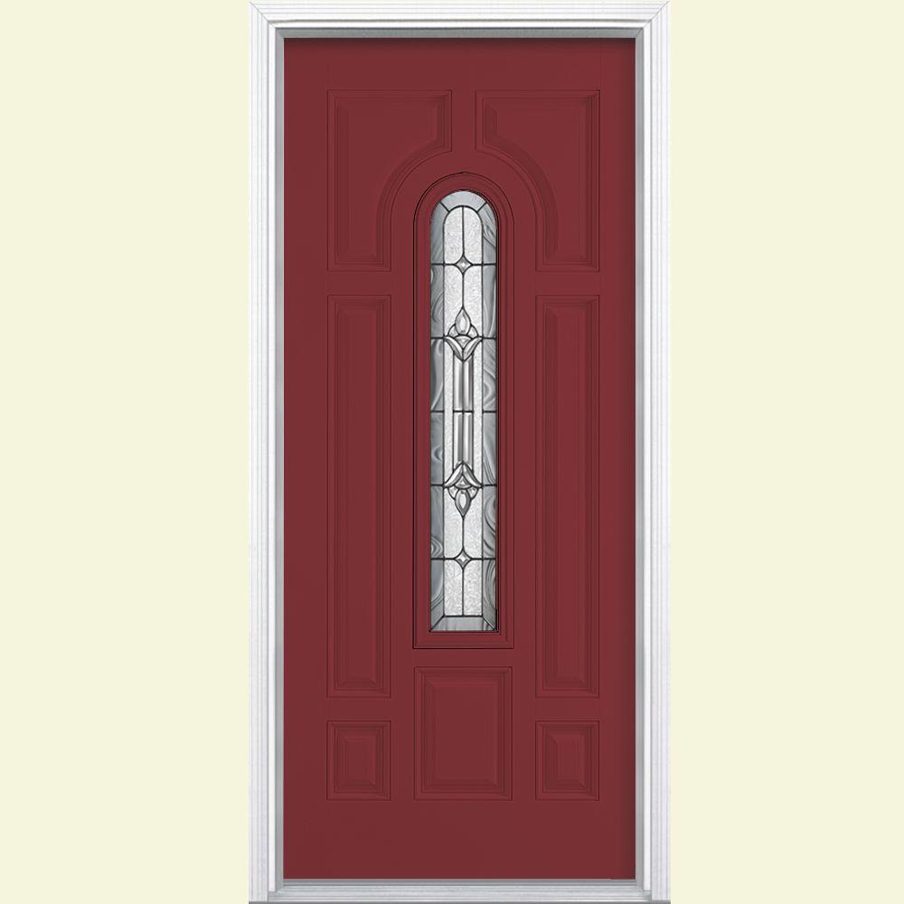 Providence Center Arch Red Bluff Right Hand Painted Smooth Fibergl Prehung Front Door W Brickmold