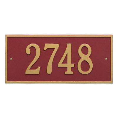 Hartford Rectangular Red/Gold Standard Wall 1-Line Address Plaque