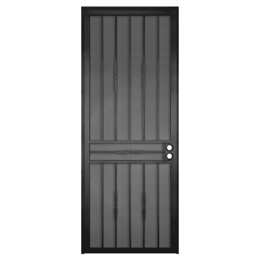 Unique Home Designs 36 in. x 96 in. Cottage Rose Black Surface Mount Left-Hand Steel Security Door with Expanded Metal Screen