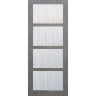 30 in. x 84 in. Driftwood 4-Lite Mistlite Glass Clear Coat Wood Interior Barn Door Slab