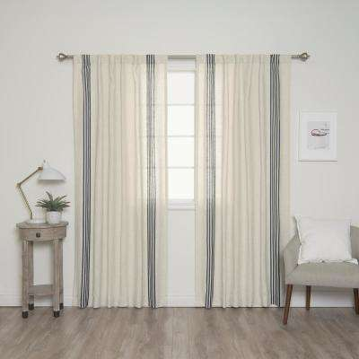 84 in. L Linen Blend Ivory Curtain Panels with Navy Stripes (2-Pack)